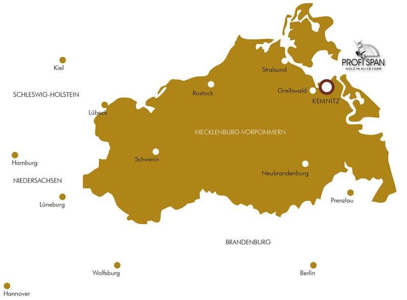 Karte mit Kennzeichnung wo der Firmensitz sich befindet